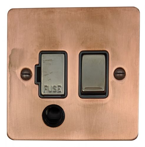 G&H FTC356 Flat Plate Tarnished Copper 1 Gang Fused Spur 13A Switched & Flex Outlet